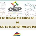 Nómina de Juradas y Jurados de Mesa de Sufragio en el Departamento del Beni, 22 de Septiembre de 2019